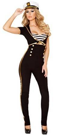 Damen Seemans-Kostüm, Marine, Captain, Verkleidung, Junggesellinnenabschied, Gr. 36-38, Schwarz