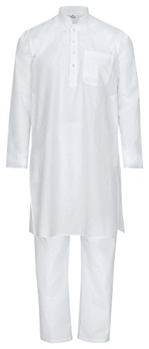 Fairtrade Maharanis traditioneller Kurta Pajama, Yoga, Massage, Wellnessanzug aus feiner Baumwolle in weiß M