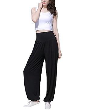 SYGoodBUY Pantalones de Mujer fluidos Yoga Pantalones Deportivos Ocasionales de Gran Tamaño Gran Cintura Alta...