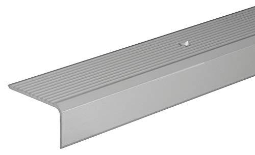 Gedotec Treppen-Profil Alu Stufen-Kantenprofil Aluminium Winkelprofil silber   2000 mm   Bodenprofil gelocht zum Schrauben   Winkel-Schutzprofil 41 x 23 mm   1 Stück - Treppen-Winkelprofil mit Rillen