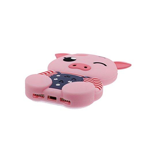 """iPhone 6s Hülle, TPU Dauerhaft Weich Shell Flexible iPhone 6 / 6S Handyhülle Cover 4.7"""" Staubdicht (3D Cartoon Schwein Stripe) - rosa rosa"""