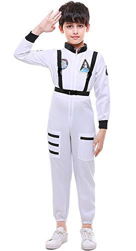 Mombebe Cosland Jungen Astronaut Kostüm Raumfahrer Overall mit Riemen Karneval (Weiß, ()