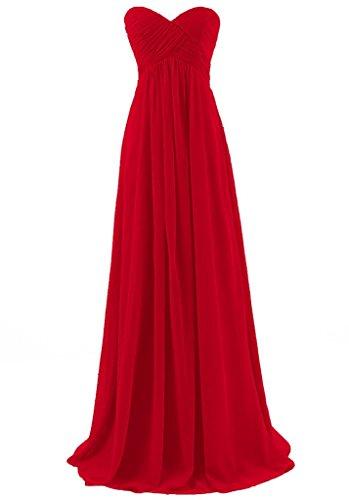 Eudolah Maxi robe de soiree/cocktail bustier avec bandeau plisse demoiselle d'honneur Femme Rouge