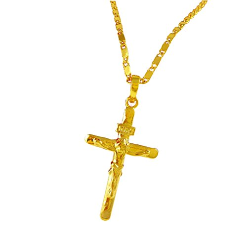 BESTOYARD Unisex vergoldet Jesus Christus Kreuz Kruzifix Anhänger Halskette (Golden)