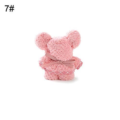 xMxDESiZ Bär Tier geformt Coral Fleece Baby Tröster Decke Badetuch Waschlappen Geschenk 30cm Rosa - Rosa Und Schwarz Tröster