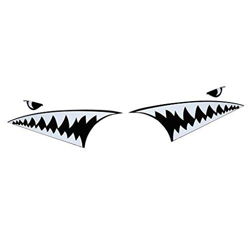 IPOTCH 2x Auto Body Kit Haifisch Mund Aufkleber Aufkleber Emblem Grafik Dekor- Weiß und Schwarz