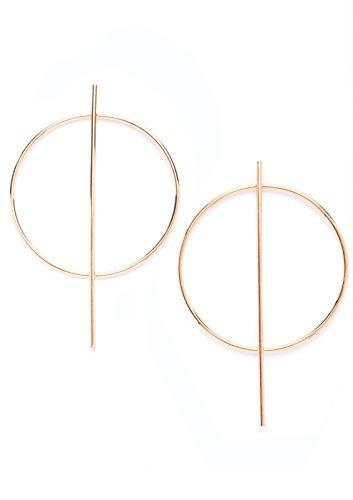 Happiness Boutique Damen Creolen in Goldfarbe | Runde Ohrringe Creolen mit Stäben Geometrisches Design (Gold Hoop Ohrringe)