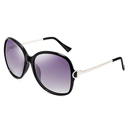 LQQAZY Polarisierte Gläser Frauen Sonnenbrille Feine Frames Mode Big Box Sonnenbrille,Black