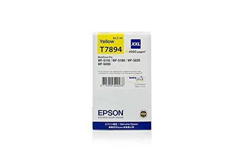 Originale Epson C13T789440 / T7894 cartucce d'inchiostro (giallo, capacità 34,20 ml) per Workforce Pro WF-5110, WF-5190, WF-5620, WF-5690