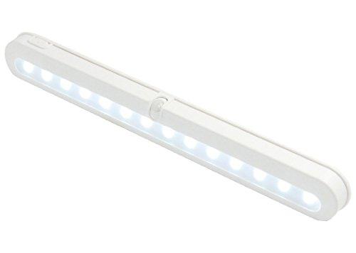 - T01 notebookbits 14 LED Super JEBSENS samfme con pilas de movimiento PIR sensor LED bajo luz del gabinete, armario de luz, luz de la noche movimiento activado automático - luz, trabaja día y noche, luz continua hasta que te vayas, blanco fresco con on, Off, función Auto! Sensor de movimiento bravolink, haces de luz bravolink! 30,48 cm de largo, portátil y de fácil instalación, No requiere cableado!