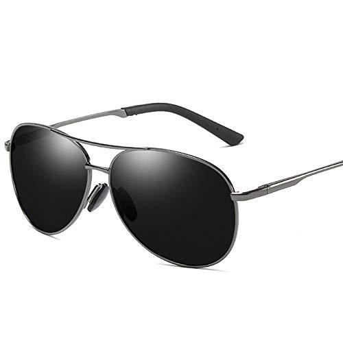 Vintage Trend Aviator Sonnenbrille, Polarisierte Linse mit Etui, 100% UV Schutz Accessoires (Farbe : Gun Grey Frame)