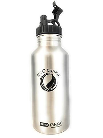 Original ECOtanka™ 2,0 Liter megaTANKA™ Eldelstahl Trinkflasche mit Poly-Loop-Verschluss Wasserflasche Sportflasche Campingflasche