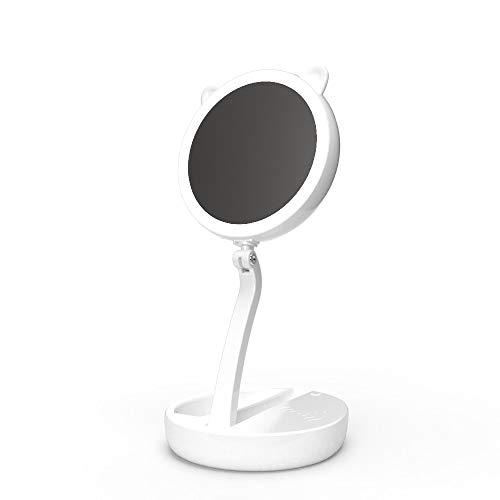 LED Schminkspiegel Drahtloser Ladelichtspiegel Drei Folding Portable Illuminated Desktop Lamp Mirror Schreibtisch Lanps (Color : White) -