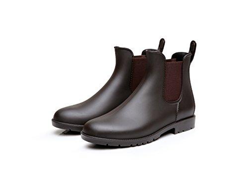 Mini Balabala Damen Chelsea Rain Boot Gummistiefel Kurzschaft Ankle Stiefeletten Gummistiefeletten Regenstiefel, Braun/Brown, 43 EU