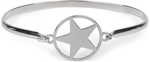 styleBREAKER Stern Armreif aus Edelstahl mit Hakenverschluss, Armspange, Schmuck, Damen 05040081, Farbe:Silber