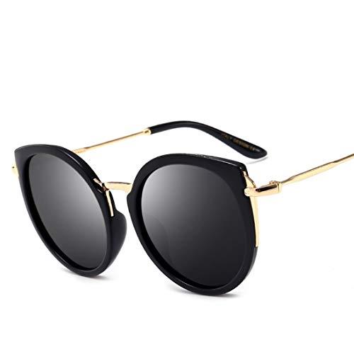 Kamiwwso Übergroße runde verspiegelte Sonnenbrille Unisex Metal Frame Sonnenbrille (Color : A)