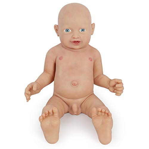 Vollence 58 cm Realistische Reborn Babypuppe, PVC-Frei, Echte Ganzkörper Silikon Baby Puppen, Handgefertigt aus lebensechtem Silikon Baby-Puppe mit Kleidung - Junge