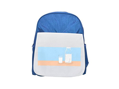 White Milk Glass (A glass of milk with a bottle of milk printed kid's blue backpack, Cute backpacks, cute small backpacks, cute black backpack, cool black backpack, fashion backpacks, large fashion backpacks, black fas)
