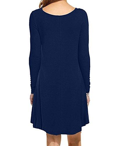VIISHOW Damen Mini kleid Rundhals Langarm Stretch Basic Kleider 02Navy Blau