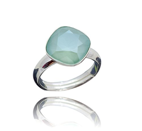 Crystals & Stones 925 Silber Ring *RHOMBUS SQUARE* *Aquamarine* Swarovski Elements - 925 Sterling Silber Damen Ring Größe Verstellbar (Mint Green)