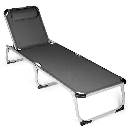 Park Alley - Chaise longue avec Coussin - Facilement pliable - Design sobre et intemporel - Tissu facile d'entretien adapté pour l'Extérieur - Plusieurs Coloris disponibles