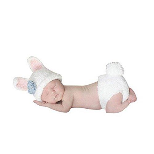 eugeborenen Kostüm Fotoshooting Bunny Weiß Blume Blau (BK040) (Baby Bunny-kostüme)