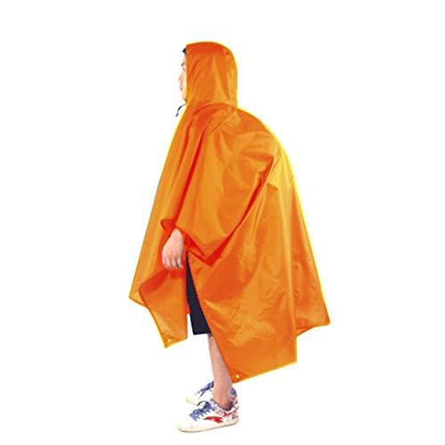 MonoTech Regenponcho 3 in 1-Multifunktional Wasserdicht Regenmantel mit Kapuzen, Sonnenschutz Plane, Matte für Rucksack Camping Wandern Picknick Angeln und Andere Outdoor-Aktivitäten (Orange)