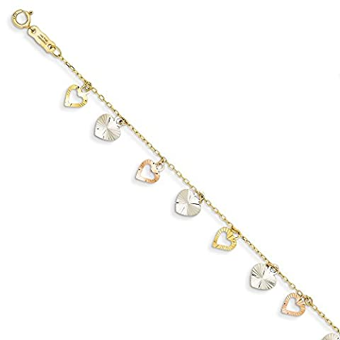 14K Tri-Color Heart Bracelet