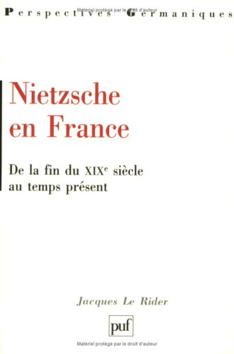 Nietzsche en France: De la fin du XIXe siecle au temps present (Perspectives germaniques)