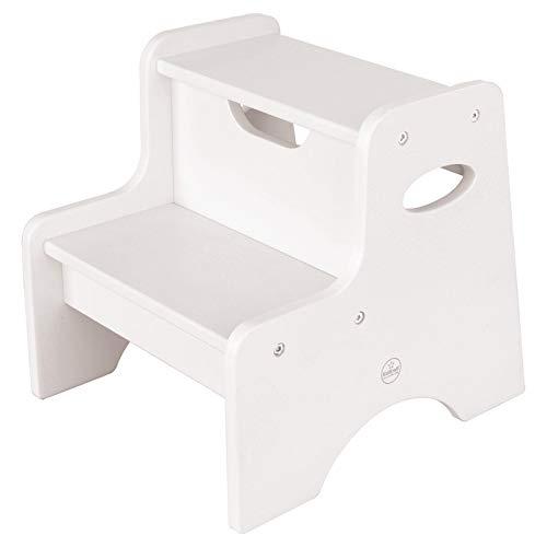 KidKraft 15501 Taburete con dos peldaños de madera, muebles para salas de juego y dormitorio de niños - Blanco