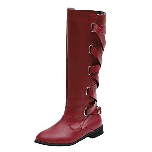 Deloito Damen Retro Winter Warm Oberschenkel Schuhe Kreuzgurt Lange Schneestiefel Kniehoch Cowboy-Stiefel (Weinrot,37 EU)