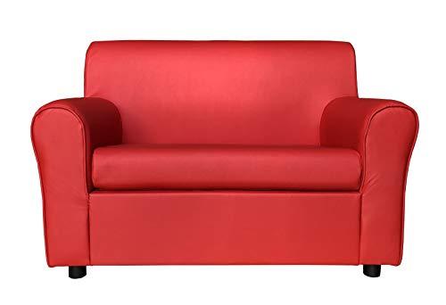 Totò piccinni divano 2 posti imbottito, con braccioli, (l) 120x(p) 75x(a) 88cm (ecopelle, rosso)
