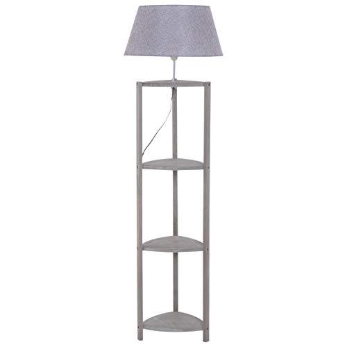 HOMCOM Stehlampe Ablage Schlafzimmer Standleuchte Stehleuchte Lampenschirm 40 W Skandinavisch Holz +...