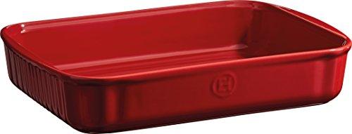 Emile Henry EH959680 - Pirofila Rettangolare in Ceramica, 34 x 24 x 6,5 cm, Colore Rosso Granato, Ceramica, Grand Cru, 34 x 24 x 6,5 cm