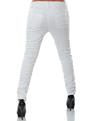 Damen Chino Boyfriend Jeans Hose Reißverschluss Knopfleiste (weitere Farben) No 14168 Weiß