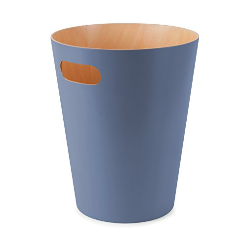 UMBRA - umbra 082780-755 woodrow poubelle en bois bleu gris