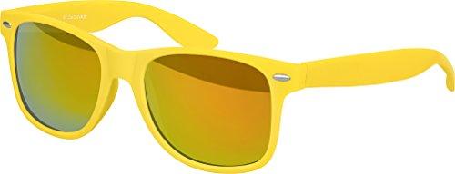 Balinco Hochwertige Nerd Sonnenbrille Rubber im Wayfarer Stil Retro Vintage Unisex Brille mit Federscharnier - 96 verschiedene Farben/Modelle wählbar (Gelb - Rot/Orange verspiegelt)