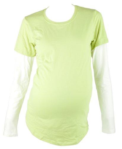 Mountain Mama Damen Marin Layered Still und Schwangerschafts-T-Shirt grün - spring green