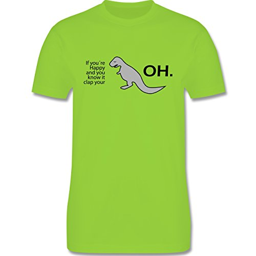 Sprüche - Dino Happy - OH - Herren Premium T-Shirt Hellgrün