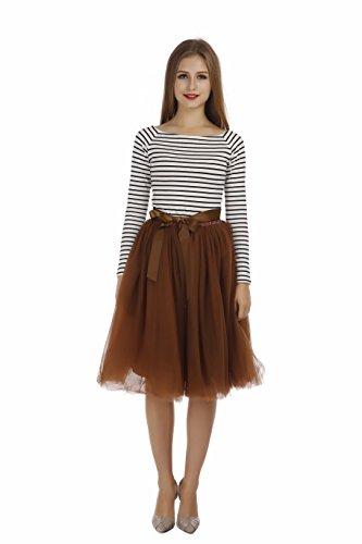 Petticoat 50er Jahre von COLLEER, Retro-Faltenrock perfekt zu Strick und Heels oder Sneakers, Unterrock für Hochzeit und Party, braun, ()