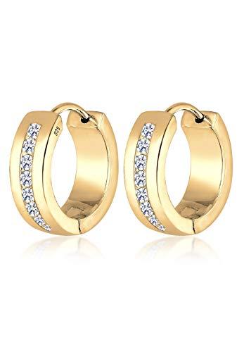 Elli Damen-Creolen 925 Silber Zirkonia gold Brillantschliff - 0307532015
