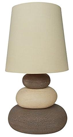 Naeve Leuchten Stoff-Tischleuchte, Textur, 40 W, E14, 16 x 16 x 31 cm, Natur 3045227-1 (Porzellan Stoff)