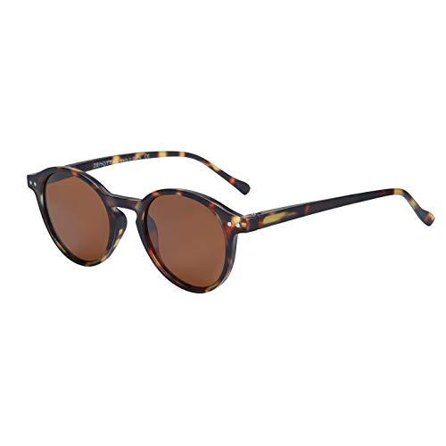 ZENOTTIC Sonnenbrille Polarisiert Rund Retro Klassisch UV 400 Schutz Vintage Rahmen für Herren Damen (MATT SCHILDKRÖTE + BRAUN)