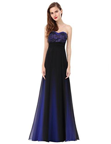 Ever Pretty Damen Elegant Trägerlos Abendkleider Party Kleider 08070 Saphirblau
