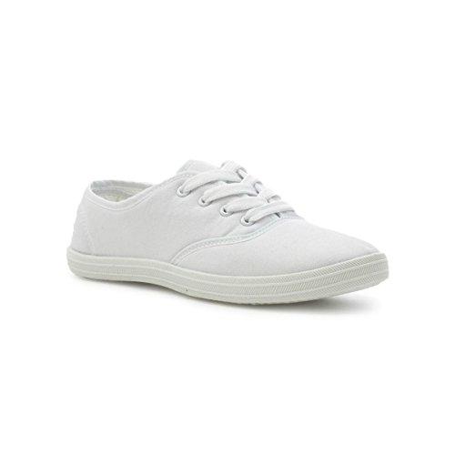 Zone Womens White Lace up Canvas Shoe - Size 7 UK - White