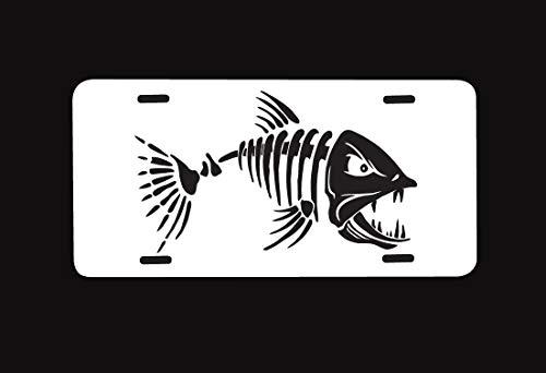 Cheeper Eletina Ds Custom Nummernschild White Fish Sceleton Bone Scull Auto Tag Sign Personalized 6 X 12 Made Sceletons Liscense of The Bones Kostüm, für Schilder