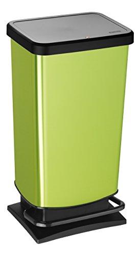 Rotho Paso Mülleimer 40 l  mit geruchdichtem Deckel, Kunststoff (PP), grün metallic, 40 Liter (35,3 x 29,5 x 67,6 cm)