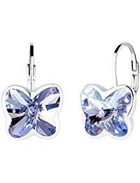 Elli Damen-Ohrhänger Schmetterling 925 Silber Kristall lila Rundschliff