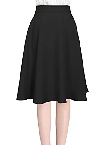 Allegra K Women's Knee Length Hidden Back Zipper Full Skirt