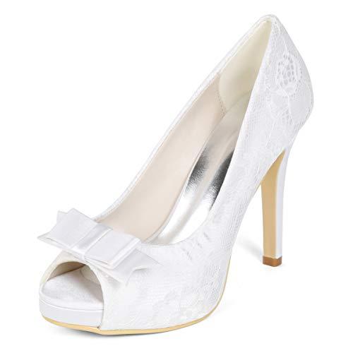 SERAPH 6041-02LS-1 Damen Spitze Bogen Hochzeit Braut Pumps Peep Toe High Heel Abend Porm Party Schuhe,White,EU37
